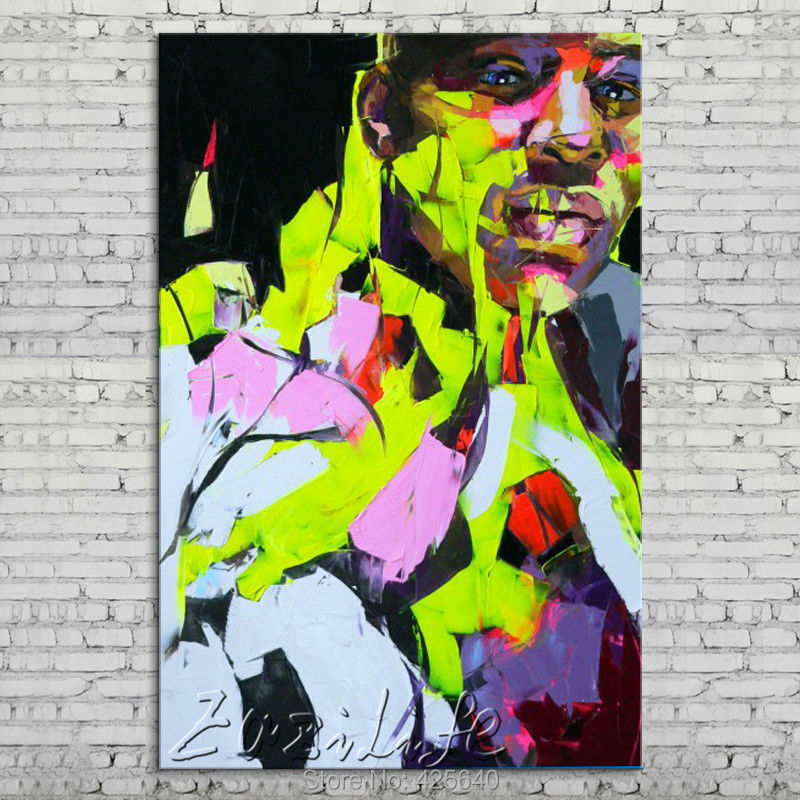 Buy Palette knife portrait Face Oil painting Character figure canva Hand painted Francoise Nielly wall Art picture for living room37 cheap