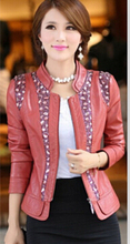 Plus size 5XL leather clothing 2015 spring and autumn female slim women's coats turn-down collar leather jacket women size 5XL(China (Mainland))