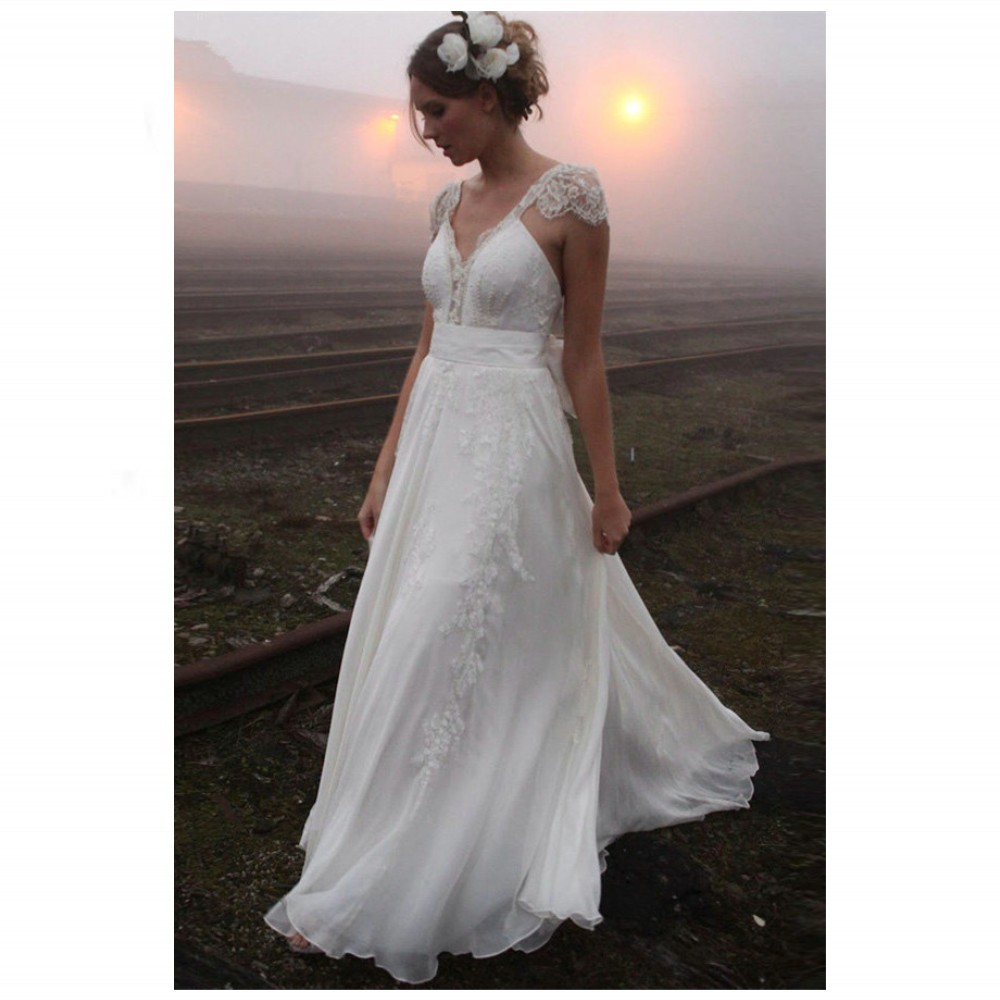 Delicate v neck lace summer wedding dresses sexy backless for Lace sleeve backless wedding dress