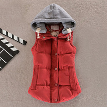 Women Winter Warm Vest Hooded Down Cotton Wool Collar Waistcoat Jacket Outerwear