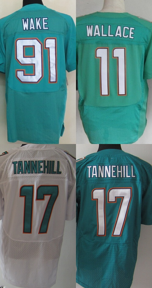 Miami Men's Authentic Elite #17 Ryan Tannehill #91 Cameron Wake Football Jersey,Best quality,Authentic Jersey(China (Mainland))
