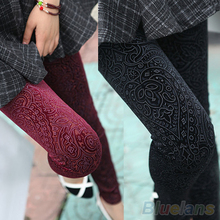 2013 New Fashion Womens Sexy Gold Velvet Floral Hollow Pantynose Tights Pants Trousers 3 Colors 0K3M