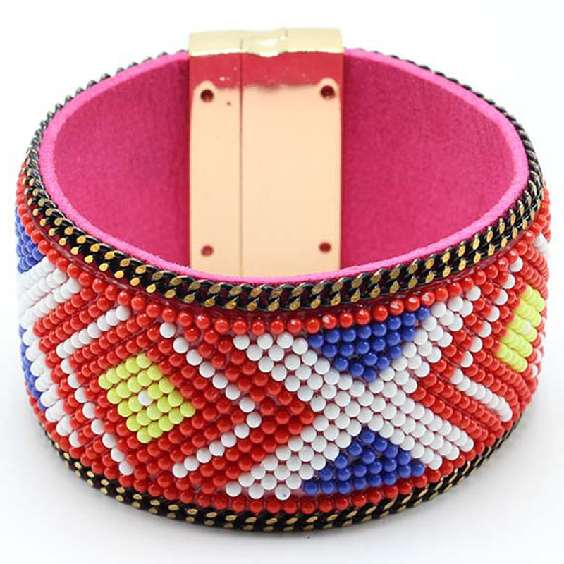 Magnet Buckle Leather H Cuff Bracelet Bangle Women Friendship Multicolor Acrylic Bead Jewelry Copper Alloy Material Bohemia BOHO