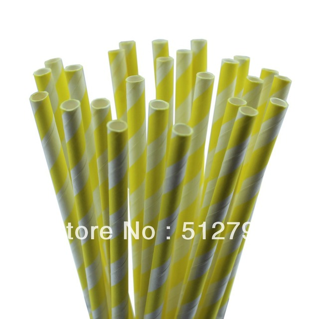 Free shipping wholesale paper drinking straws party supply wedding supplies stripe yellow 500pcs