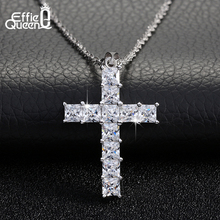 Effie Queen Classic Cross Pendant White Gold Plating Necklace 11 Pieces Zircon Paved Luxury Women Fashion Jewelry DAN011(China (Mainland))