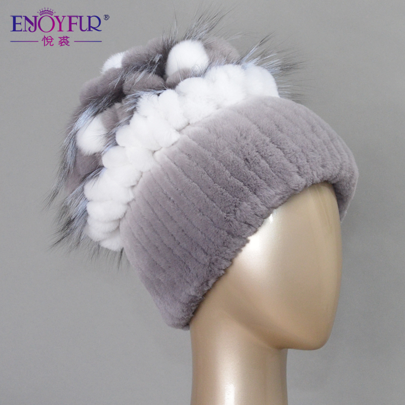 Sale 2015 winter beanies fur hat for women knitted rex rabbit fur hat with fox fur