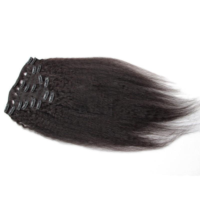 Kinky Straight Clip In Human in Hair Extensions 7A Italian Coarse Yaki Human in Hair Virgin Brazilian Hair Clip In Extension