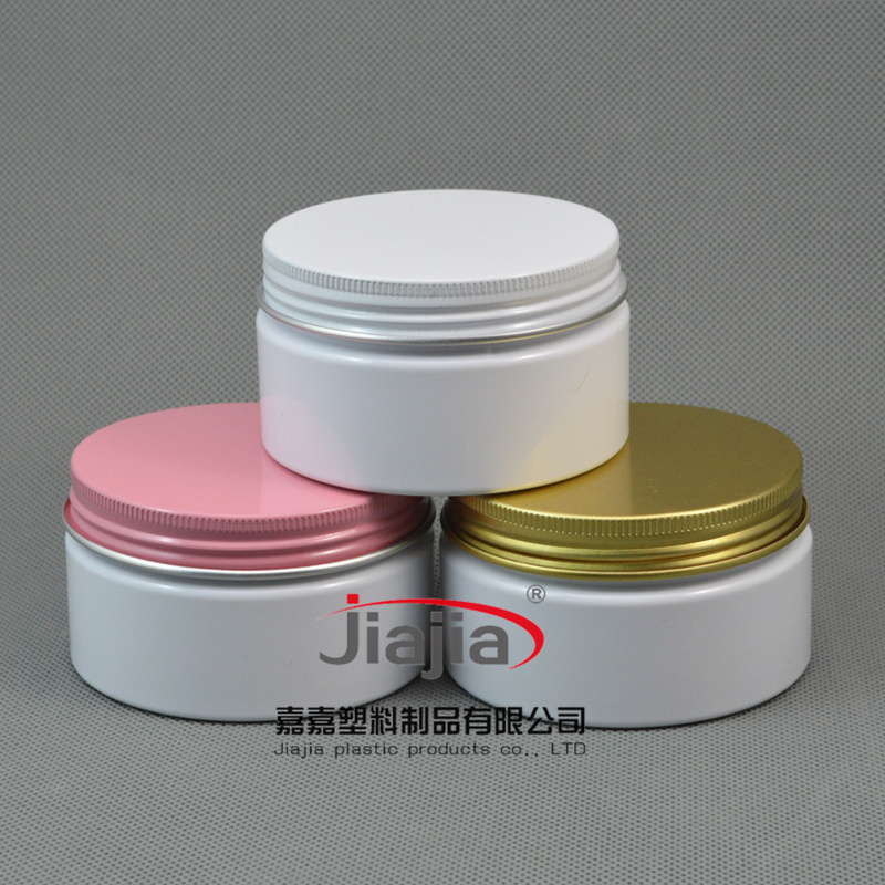 100ml Empty Container for Styling Gel Hair Wax 100g Cream Jar PET Packaging, white Jar with white/pink/black aluminum cap(China (Mainland))