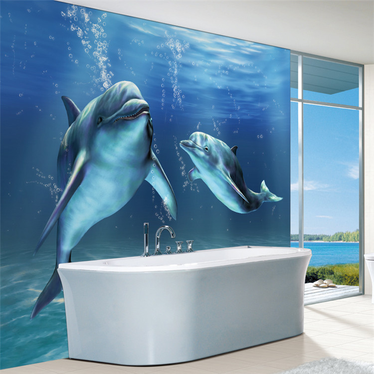 charms sea world wall mural 3d cute dolphin wallpaper