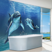Charms Sea World Wall Mural 3D Cute Dolphin wallpaper Large wall