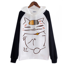 Harajuku Anime Sweatshirt Natsume's Book of Friends Nyanko Sensei Yuujinchou Cat Kawaii Women Hoodies Sweatshirts Cute Moletom