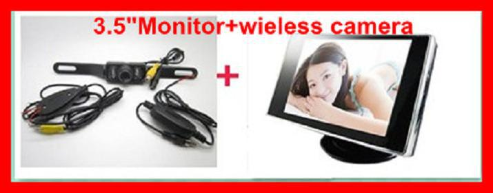 """3pcs/lot / wireles sparking assistance system 3.5""""TFT LCD monitor Reverse Camera Car Kit 2.4GHz rear view system .(China (Mainland))"""