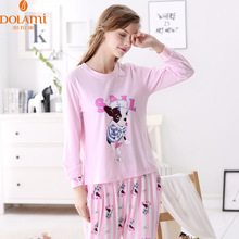Autumn Women Full Sleeve pajamas sets Character Girl Sleepwear knitted cotton Pijama leisure Sleep & Lounge Suit Indoor Clothing