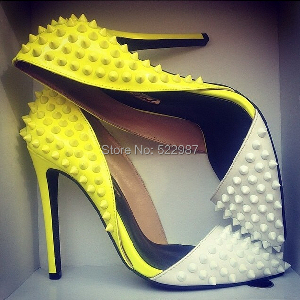 2014 women Leather Rivets shoes pointed toe colorful high heels sandals hot selling  -  Rose's Boutique store