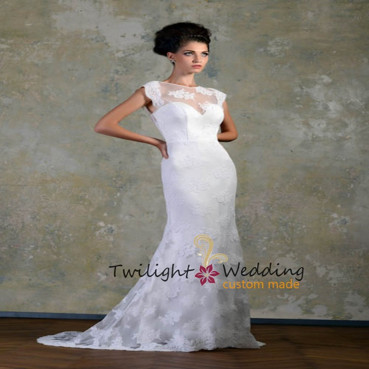 2015 Bridal Gowns For Big Women Simples Fashion Backless Cap Sleeve Ireland Wedding Dress With Train Celebrity Lace Mermaid(China (Mainland))