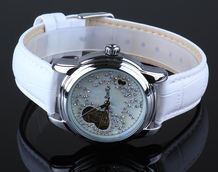 2016 Новое Прибытие Luxury Brand BIAOKA женщины часы скелет механические часы белый кожаный дамы случайные часы relogio femininos