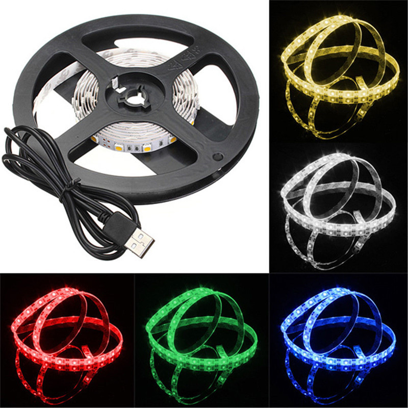 Waterproof LED Strip Light Ribbon Single Color TV Background Lighting 5050 Leds With USB Cable 30/50/100/200cm Optional