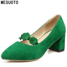 Buy MESUOTO Spring Womens Shoes Green Suede Nubuck Flower Sweet Pointed Toe Square Low Heels Lady Pumps Shoe Plus Size 43 for $23.97 in AliExpress store