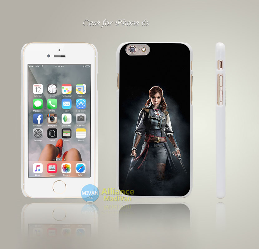 ab96 assassins creed unity elise game Style Hard White Case Cover Coque for iPhone 4 4s 4g 5 5s 5g 5c 6 6s 6 Plus 6s Plus(China (Mainland))