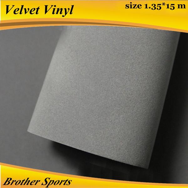 Gray velvet car interior decoration sticker /suede fabric car wrap vinyl roll film 1.35*15m(China (Mainland))