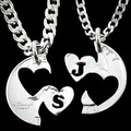 Hand Stamped Silver Monogram Initial JS Love Heart Charm Pendant Necklaces interlocking couples necklaces Colares Femininos