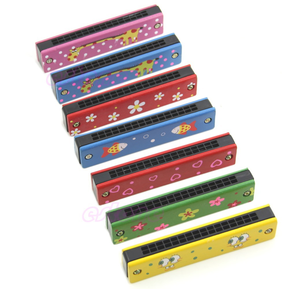 E79 Wooden Painted Harmonica Children Kids Musical Instrument Educational Music Toy color random(China (Mainland))