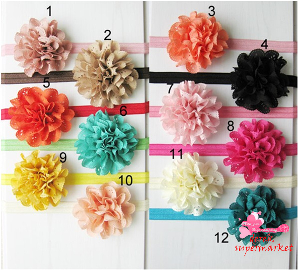 """12color,""""3'' Eyelet Chiffon Lace Flowers DIY Fabric Flower For Baby Headband Girl's Hair Accessories,Handmade Flower"""