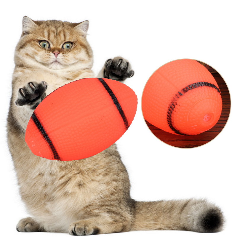 Popular Funny Dog Orange Squeaky Toy For Pet Dog Chew Toy Small Rubber Squeaky Rugby Ball Playing Game(China (Mainland))