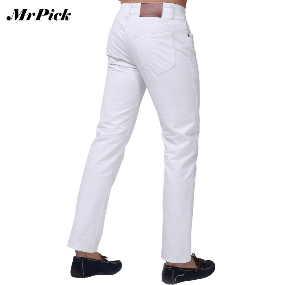Jeans Men 2015 New Brand Fashion Solid Slim Fit White Blue Black Candy Colors Plus Size Mid Straight Denim Pants F1241 - MrPick Mens Grand Store store
