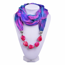 Multicolored Gradient Polyester Beaded Pendant Winter warmth Jewelry Scarf Necklace Women Scarfs Designers BrandSC150164(China (Mainland))