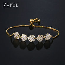 ZAKOL New Fashion Flower Adjustable Charm Bracelets For Women Crystal Round Charm Wedding Party Jewelry Dropshipping FSBP2080(China)