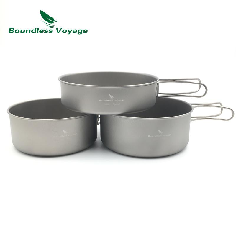 Boundless Voyage 2-3pcs Titanium Pot Set Outdoor Camping Cooking Pan With Folding-Handle Picnic Cookware Ti1575B-Ti1577B(China (Mainland))