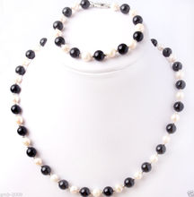 NEW Natural 7-8mm White Pearl& 8mm Black Agate Wedding Necklace Bracelet Set(China (Mainland))