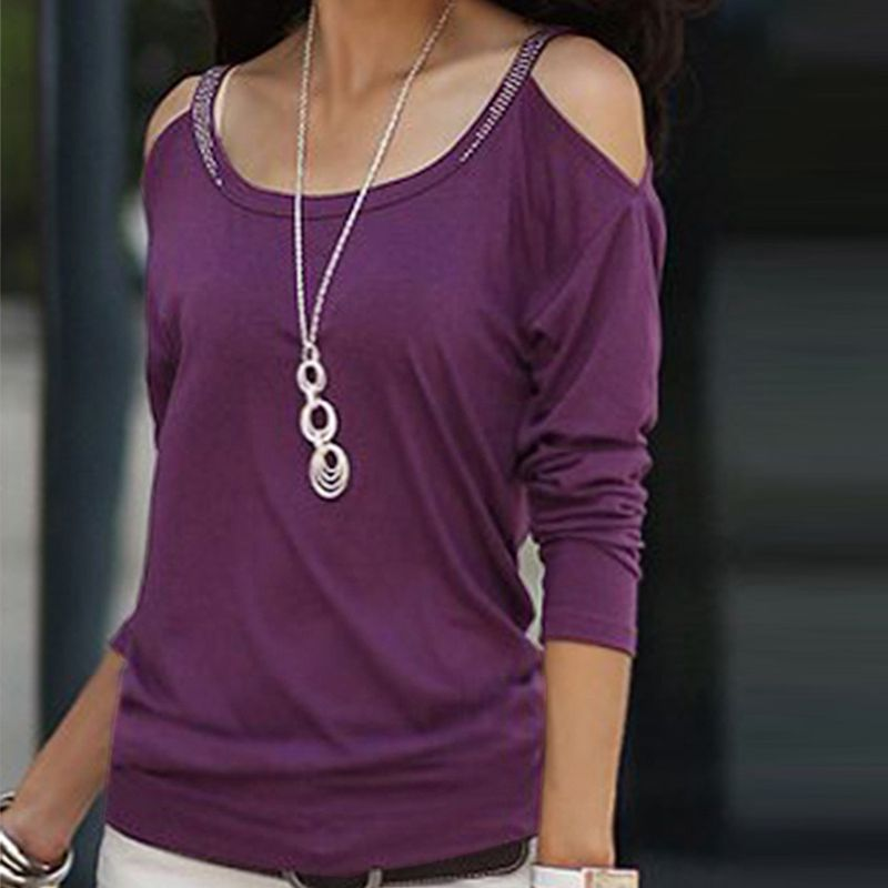 Casual Blouse Women Lady Girl Spring Autumn Summer Off the Shoulder Long Sleeve Tops #10(China (Mainland))