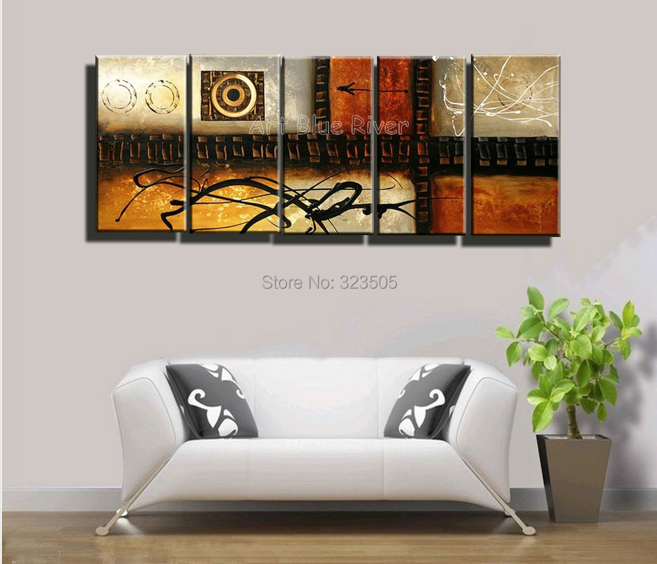 5 piece huge muti panel canvas wall art cheap large for Large colorful wall art