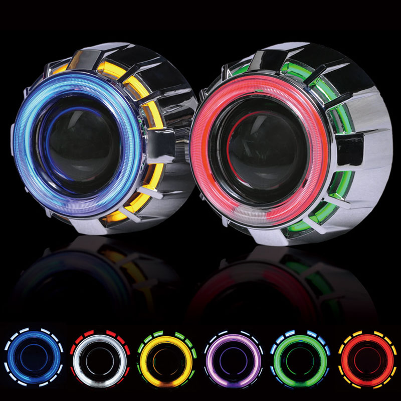 2.5inch Double Angel Eyes CCFL Bi-xenon HID Projector headlight Lens LHD RHD use bulb H1 with H4 H7 adapter car styling(China (Mainland))