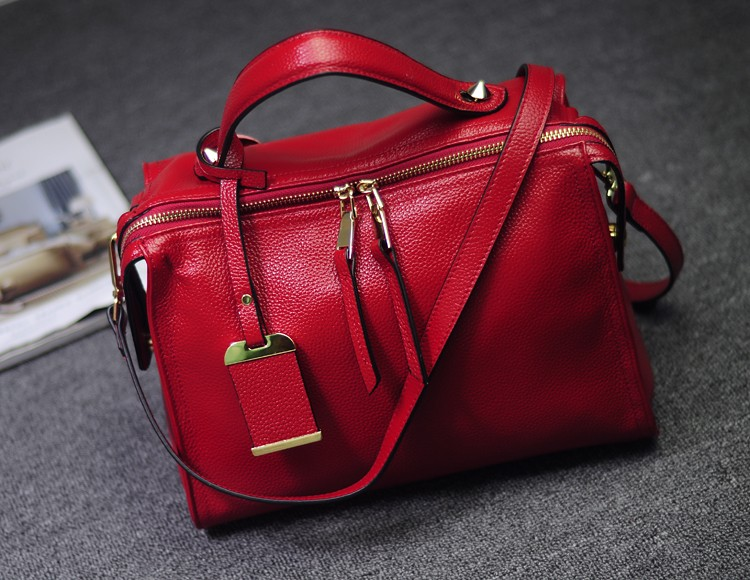 Genuine Leather Boston Bag Women Handbag Fashion Luxury Shoulder Bag Solid Zipper Women Pillow Bag Ladies Bag bolsos sac a main
