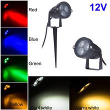 Nuevo 3 * 3 W 9 W exterior paisaje de la lámpara 12 V baja tensión decoración del jardín del césped iluminación con blanco caliente blanco rojo azul amarillo(China (Mainland))
