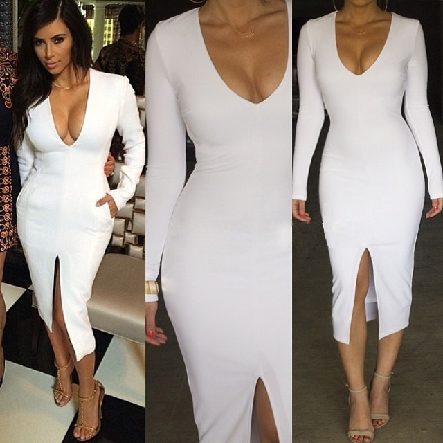 new arrival Sexy Kim Kardashian deep v neck long sleeve cut out winter Bandage Dress women bodycon evening party dress wholesaleОдежда и ак�е��уары<br><br><br>Aliexpress