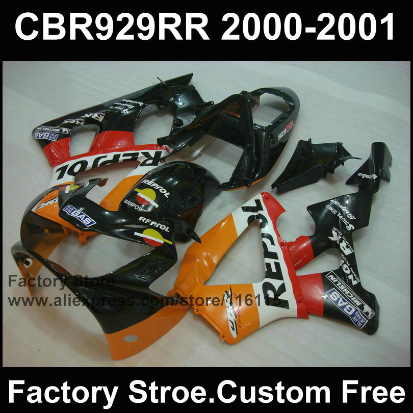 ABS factory Motorcycle fairings kit for HONDA 2000 2001 CBR929RR CBR 929RR 00 01 CBR900RR classic repsol body fairings parts(China (Mainland))