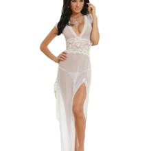 Fasion Women Sexy Lingerie Fornt and Back Deep V Diaphanous Voile Long Dress Ropa Nina Porn Oprn Corth Nightdress T-pantsQQ208