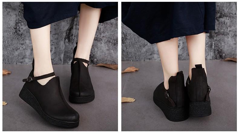 ซื้อ รอบหนังแท้เท้ารองเท้าผู้หญิงแบนแพลตฟอร์มฤดูใบไม้ร่วง2016 Cowhideผู้หญิงรองเท้าหัวเข็มขัดสายคล้อง