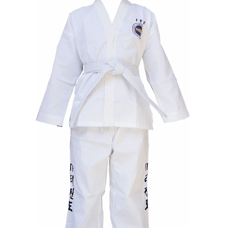 1/set  Free shipping! Tae kwon do standard taekwondo ITF clothes stripe fabric embroidered words ITF zip  embroidery<br><br>Aliexpress