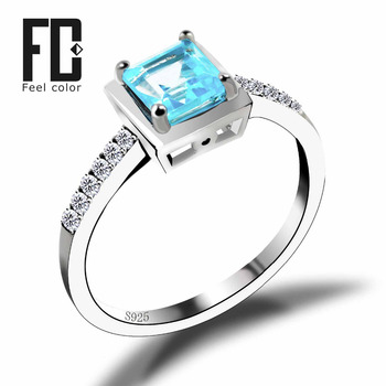 Square Natural Blue Topaz Ring Solid 925 Sterling Silver Romantic Classic Ring Brincos Wholesale Charm Bijouterie 2016 Brand New