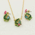 New Crocodile Gem Jewelry Sets Top Quality Alligator Crystal Flower Necklace Earring Party Accessories