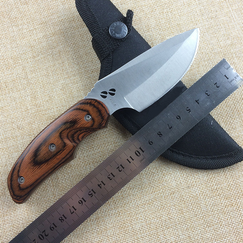 Buy WTT Mini Hunting Fixed Knife 440C Blade Wood Handle Combat Survival Camping Pocket Knives Utility Tactical EDC Portable Tools cheap