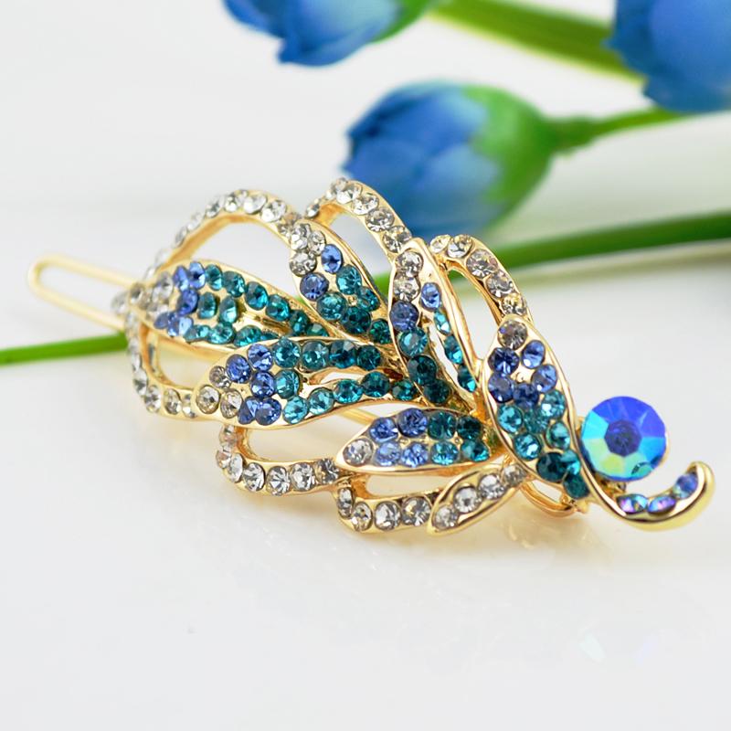 FJ008 Headwear Hair Accessory Barrette 18K Gold Plated Hair jewelry FULL purple blue Sapphire Austrian Crystals()