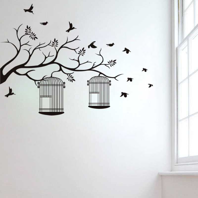 New Large Removable Wall Stickers Tree Birdcages Home Decoration 70*95CM Vinyl Wall Decals(China (Mainland))