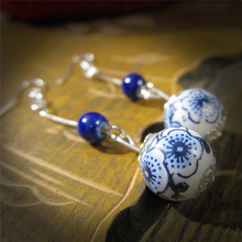 handmade ceramic accessories jewelry blue and white porcelain dangle earring national trendy unique 2016(China (Mainland))