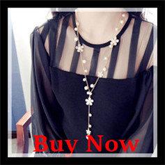 New Fashion Simple design Trendy Romantic style Plastic Imitation Pearl  Flower Women Jewelry Tassels Long necklaces 2016